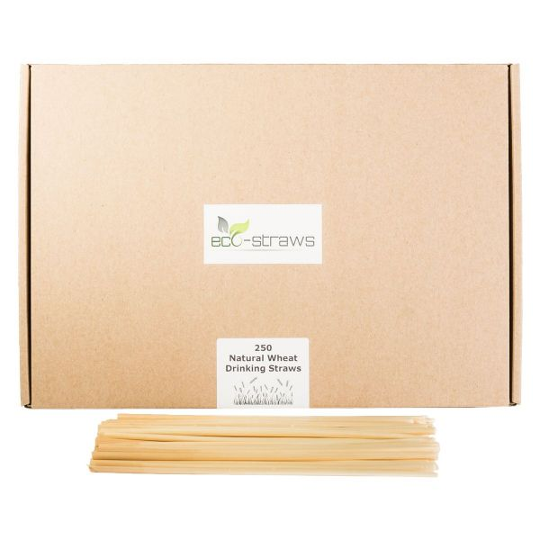 500 x Natural Wheat Drinking Straws (215mm)